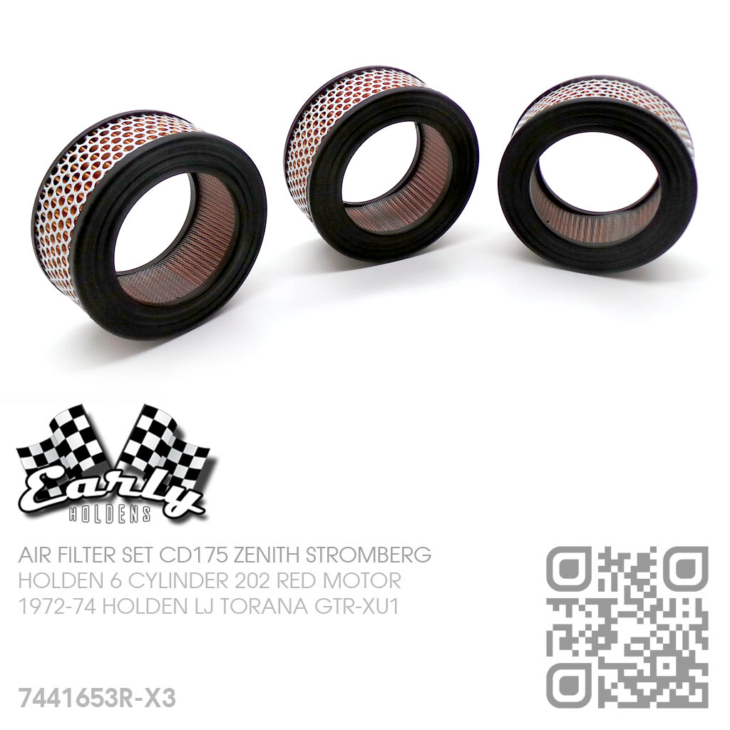 CD175 ZENITH STROMBERG AIR FILTER SET [HOLDEN 6-CYL 202 RED