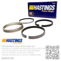 HASTINGS 202 STD PERFORMANCE MOLY RING SET [HOLDEN 6-CYL 202 RED/BLUE/BLACK MOTOR]