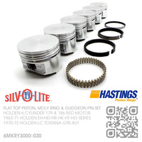 "SILVOLITE 186+0.030"" FLAT TOP PISTONS & HASTING MOLY RINGS [HOLDEN 6-CYL 186 RED MOTOR]"