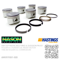 "NASON RB30+0.020"" DISH TOP PISTONS & HASTINGS MOLY RINGS [HOLDEN 6-CYL RB30ET TURBO 3.0L MOTOR]"