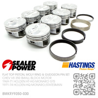 "SEALED POWER 350+0.030"" FLAT TOP PISTONS & HASTING MOLY RINGS [CHEV V8 350 SMALL BLOCK MOTOR]"