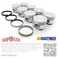 SILVOLITE 304 STD SIZE FLAT TOP PISTONS & HASTING MOLY RINGS [HOLDEN V8 304 BLACK & INJECTED 5.0L MOTOR]