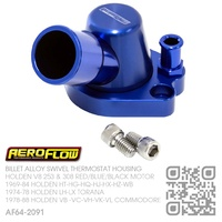 AEROFLOW BILLET ALLOY SWIVEL THERMOSTAT HOUSING [HOLDEN V8 253-308 RED/BLUE & 304-308 BLACK MOTOR]