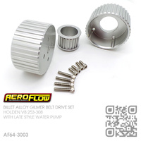 AEROFLOW BILLET ALLOY GILMER BELT DRIVE SET [HOLDEN V8 253-308 BLUE & 304 BLACK MOTOR]