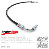 BRAKEQUIP BRAIDED STAINLESS HYDRAULIC CLUTCH HOSE [FE-FC-FB-EK-EJ-EH-HD-HR][4 or 5 SPEED CONVERSION][BLACK]