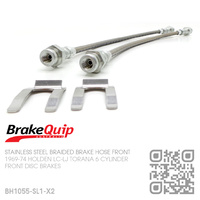 BRAKEQUIP BRAIDED STAINLESS STEEL HYDRAULIC BRAKE HOSE FRONT KIT [LC-LJ TORANA][DISC]