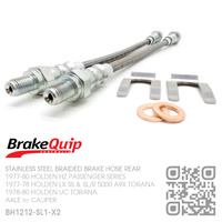 BRAKEQUIP BRAIDED STAINLESS STEEL HYDRAULIC BRAKE HOSE REAR DISC KIT [HZ, LX A9X & UC TORANA][REAR AXLE to CALIPER]