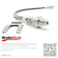 BRAKEQUIP BRAIDED STAINLESS STEEL HYDRAULIC BRAKE HOSE REAR [HD-HK][CHASSIS to AXLE]