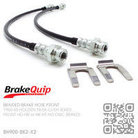 BRAKEQUIP BRAIDED STAINLESS STEEL HYDRAULIC BRAKE HOSE FRONT KIT [FB-EH][HD-HG CALIPERS]