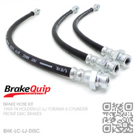 BRAKEQUIP RUBBER HYDRAULIC BRAKE HOSE KIT [LC-LJ TORANA][DISC]