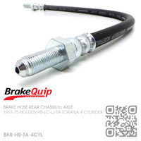 BRAKEQUIP RUBBER HYDRAULIC BRAKE HOSE REAR [HB-TA TORANA 4-CYL][CHASSIS to AXLE]