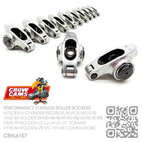 "CROW CAMS PERFORMANCE 1.5 RATIO STAINLESS 7/16"" ROLLER ROCKERS [HOLDEN 6-CYL RED/BLUE/BLACK MOTOR]"
