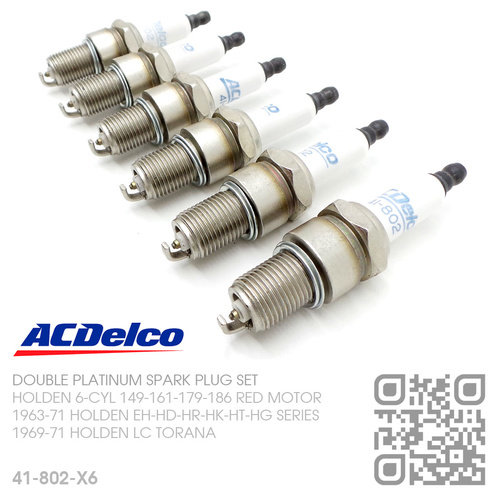 ACDELCO DOUBLE PLATINUM SPARK PLUGS SET [HOLDEN 6-CYL 149-161-179-186 RED MOTOR]