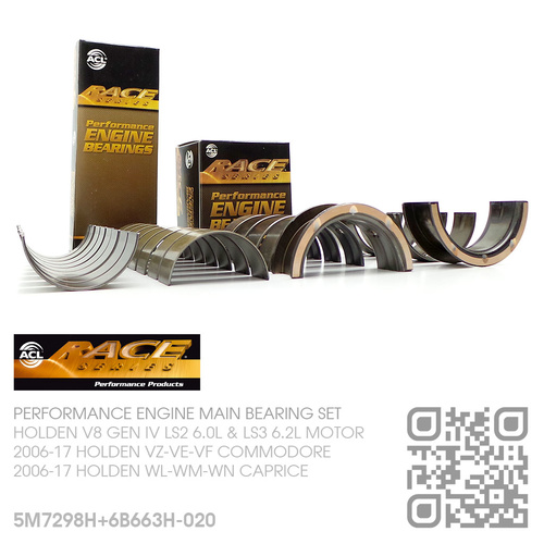 "ACL RACE SERIES PERFORMANCE MAIN & CONROD BEARING SET -0.020"" UNDERSIZE [HOLDEN V8 GEN IV LS2 6.0L & LS3 6.2L MOTOR]"