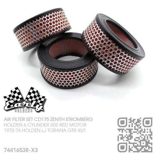 CD175 ZENITH STROMBERG AIR FILTER SET [HOLDEN 6-CYL 202 RED MOTOR]