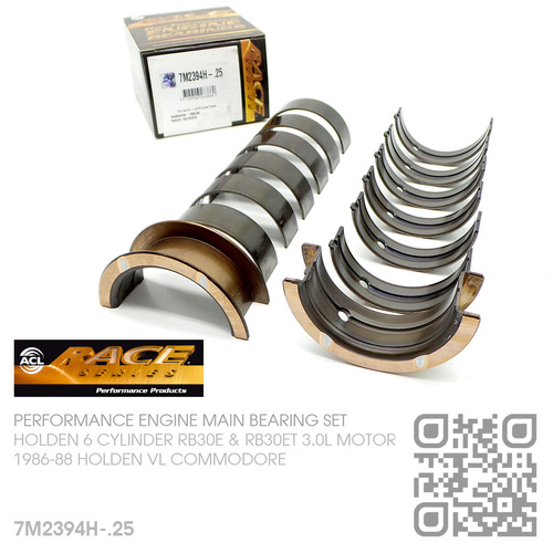 ACL RACE SERIES PERFORMANCE MAIN BEARINGS SET -0.250mm UNDERSIZE [HOLDEN 6-CYL RB30E & RB30ET TURBO 3.0L MOTOR]