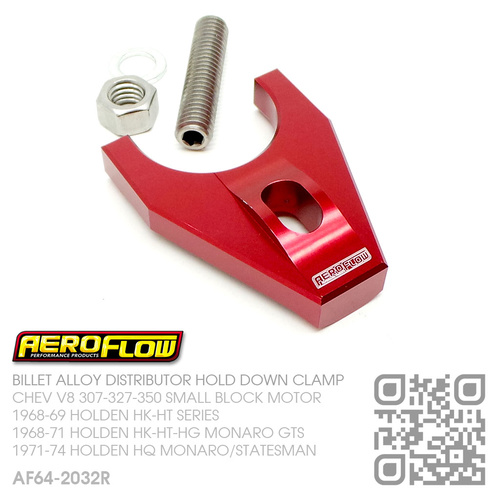 AEROFLOW BILLET ALLOY DISTRIBUTOR HOLD DOWN [CHEV V8 307-327-350 SMALL BLOCK MOTOR][RED]