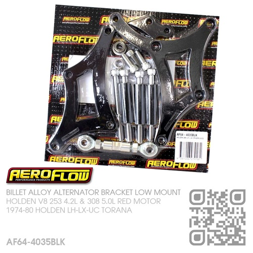 AEROFLOW BILLET ALLOY ALTERNATOR BRACKET RHS LOW MOUNT [HOLDEN V8 253 4.2L & 308 5.0L RED MOTOR]