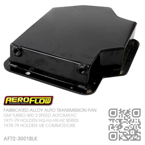 "AEROFLOW FABRICATED ALLOY  3.25"" DEEP TRANSMISSION PAN [GM TURBO 400 AUTOMATIC]"