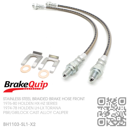 BRAKEQUIP BRAIDED STAINLESS STEEL HYDRAULIC BRAKE HOSE FRONT KIT [LH-LX TORANA][DISC]