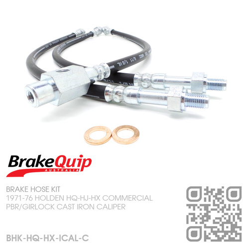 BRAKEQUIP RUBBER HYDRAULIC BRAKE HOSE KIT [HQ-HX COMMERCIAL][IRON CALIPER]