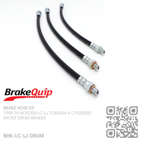 BRAKEQUIP RUBBER HYDRAULIC BRAKE HOSE KIT [LC-LJ TORANA][DRUM]