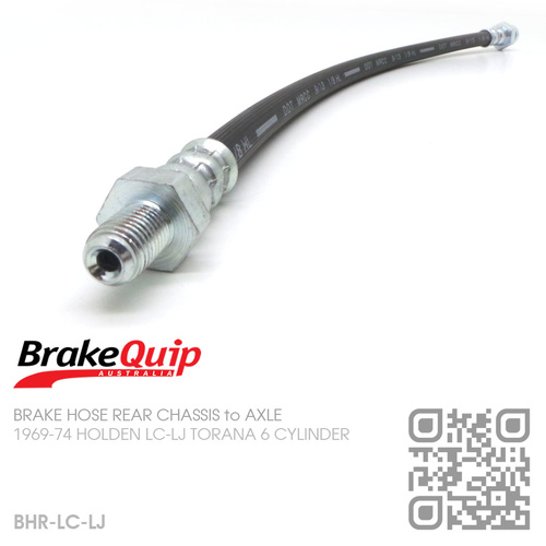 BRAKEQUIP RUBBER HYDRAULIC BRAKE HOSE REAR [LC-LJ TORANA][CHASSIS to AXLE]