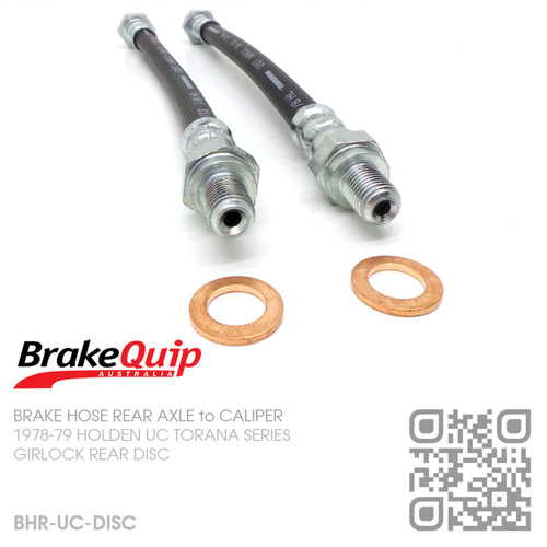 BRAKEQUIP RUBBER HYDRAULIC BRAKE HOSE REAR DISC KIT [UC][REAR AXLE to CALIPER]