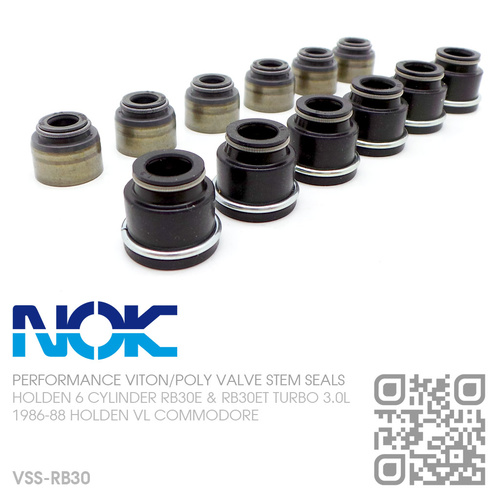 N.O.K VITON INLET & POLYACRYLIC EXHAUST VALVE STEM SEALS [HOLDEN 6-CYL RB30E & RB30ET TURBO 3.0L MOTOR]